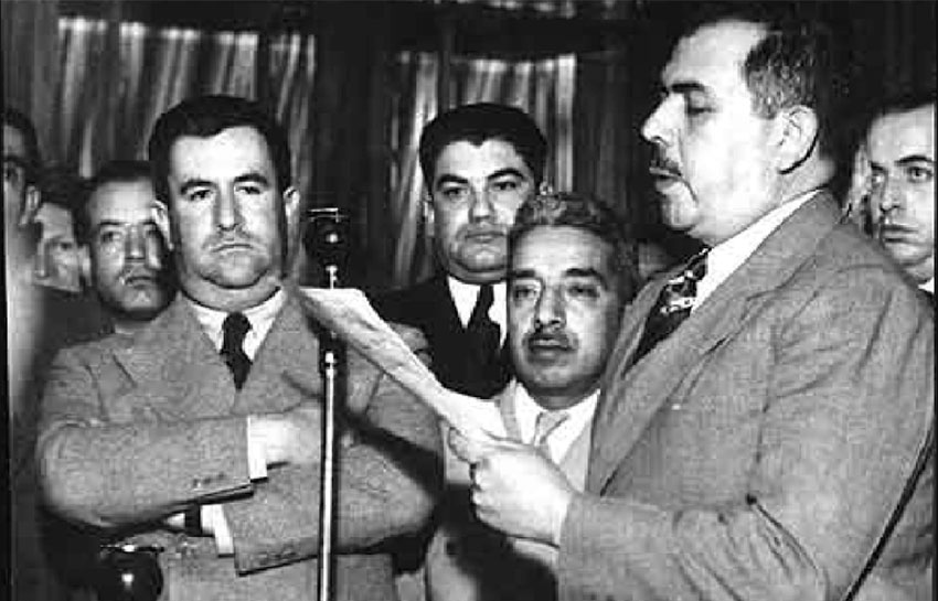 President Lázaro Cárdenas announces the expropriation of the oil industry