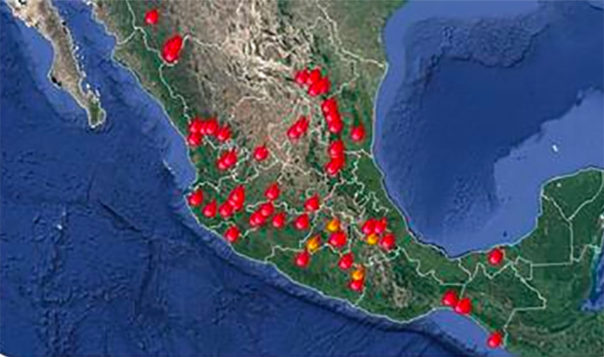 Active forest fires as of Wednesday