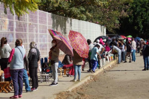 A Covid vaccination lineup in Oaxaca city.