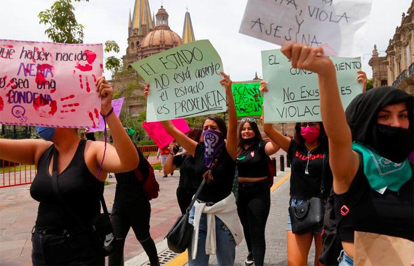 Women march in Guadalajara last year.