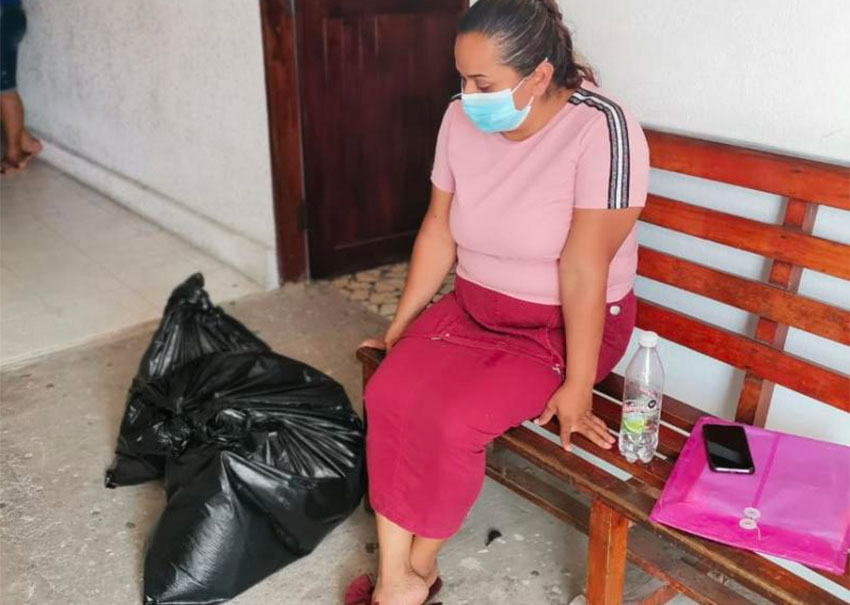 The victim's mother at a prosecutor's office in Veracruz