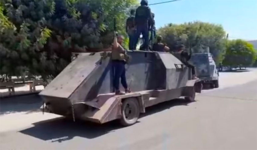 Cartel shows off its tank in Aguililla.