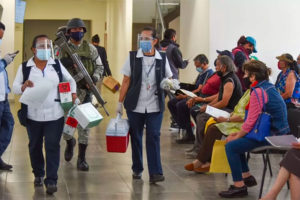 A vaccination brigade on the move in Mexico City.