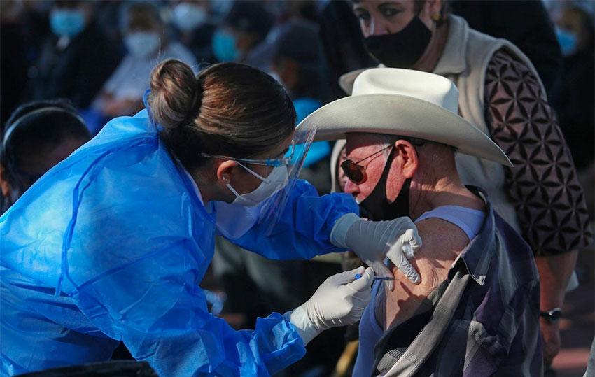 A senior citizen gets a jab in Tonalá, Jalisco, this week.