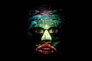 Jade mask unearthed at the Calakmul archaeological site in Mexico's southern jungle.