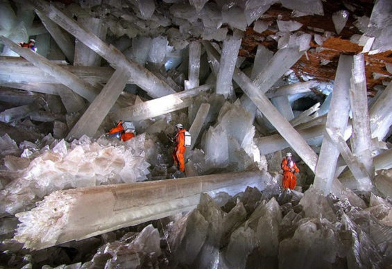 The Naica Crystal Cave, only ever accessible from a mine in Chihuahua but now completely submerged underwater, has bizarrely long, thick crystals.