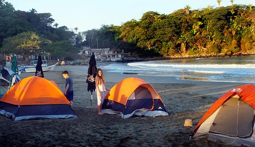Camping on Platanitos (Little Bananas) Beach in Nayarit.