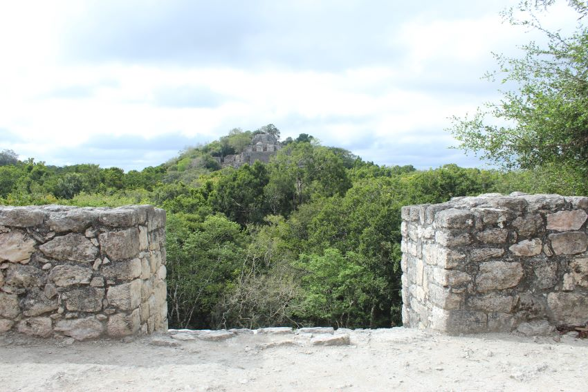 A bird's-eye view of Calakmul's main pyramid, off in the distance.