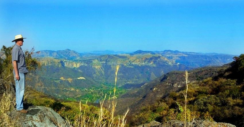 Salvador Mayorga takes in the view from Rancho el Mexicano.