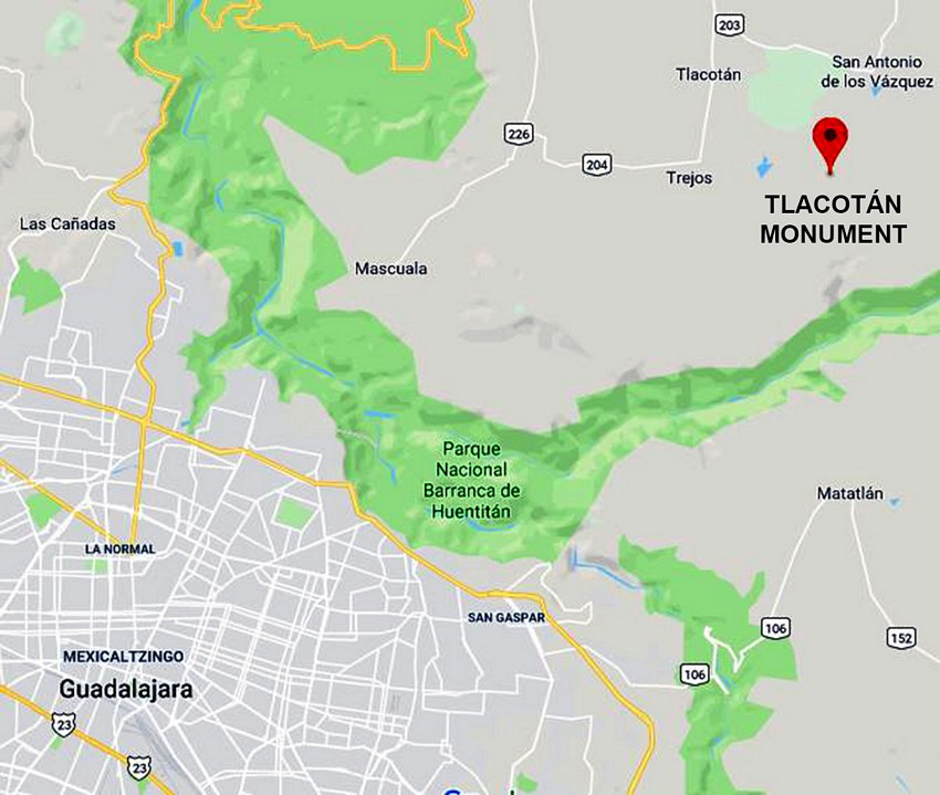 Map locating the monument to the third Guadalajara.