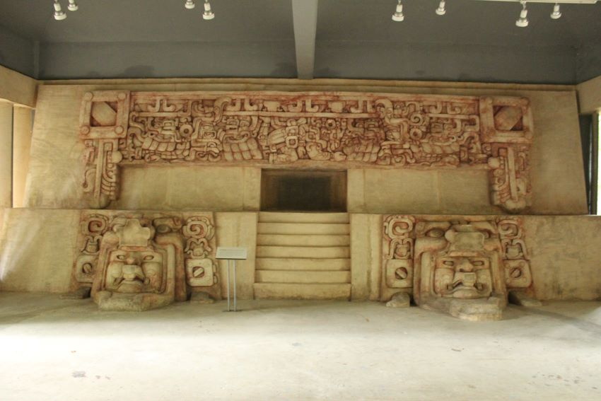 A replica of the frieze from Calakmul's main pyramid.