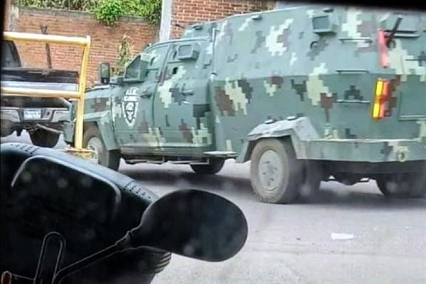 In a show of force, presumed CJNG cartel members paraded this armored truck through the streets of Aguililla, Michoacán on Monday.