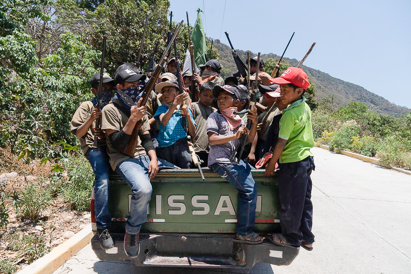 Child soldiers from the Guerrero community of Ayahualtempa.