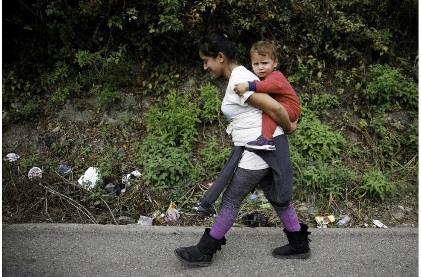 A Honduran woman and child near Mexico's border with Guatemala.