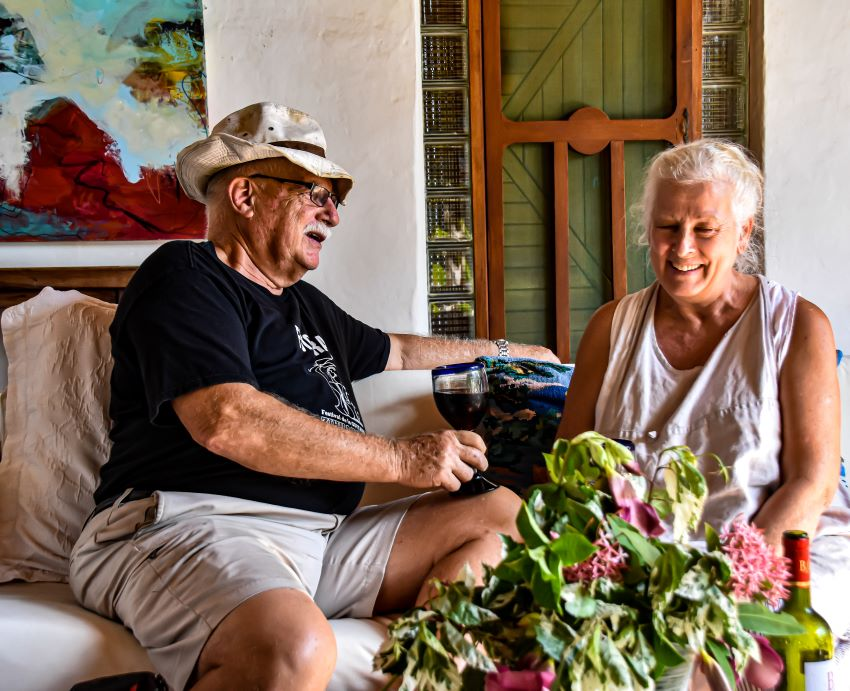 Owners Al and Agatha Doerksen take a break at days' end. They bought the home in their retirement.