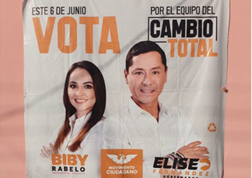 """Eliseo Fernández's campaign for governor billboard. The buzzword in all Campeche's political campaigns this year is """"cambio"""" (change)."""