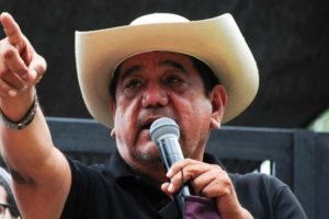 Disqualified gubernatorial candidate in Guerrero Félix Salgado at a protest by supporters outside Mexico City's National Electoral Institute (INE) headquarters.