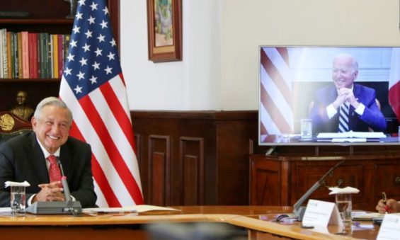 President López Obrador and United States President Joe Biden during a video conferencing call in March.