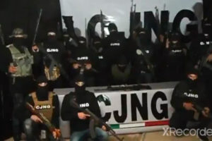 A frame from a video released last week by the Jalisco New Generation Cartel.