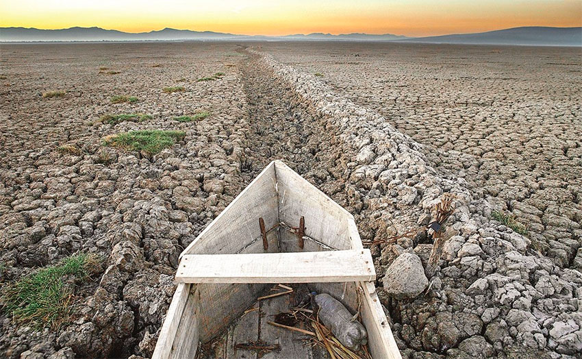 Dried up bed of Lake Cuitzeo, Michoacán.