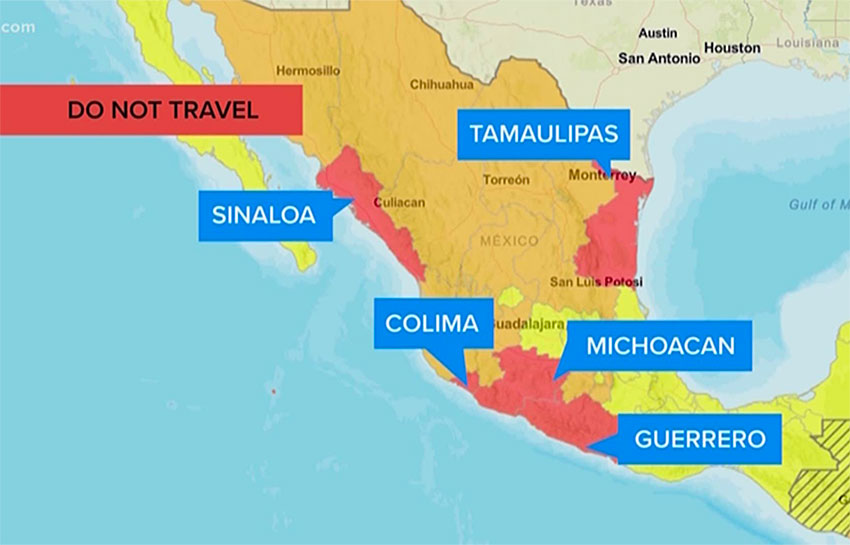 Mexico hot spots according to the US State Department.