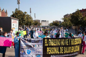 Private sector heath workers protest in Mexico City on Friday.