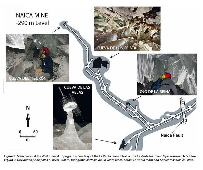 Mapa de las principales cuevas de cristal a -290 m.