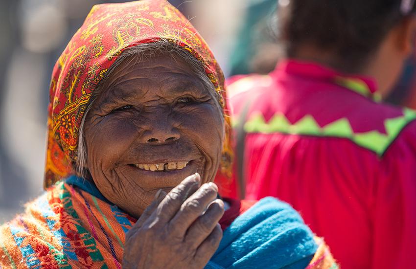 A Rarámuri woman in Cusárare enjoys Holy Week festivities.