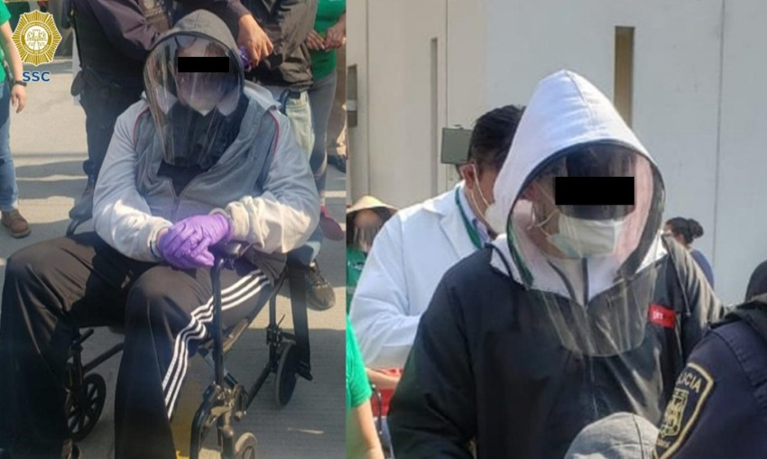 One of the men came to the vaccination site in a wheelchair.