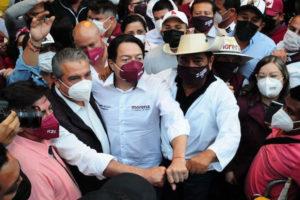 Michoacán politician Raúl Morón, left, Morena Party head Mario Delgado and Guerrero politician Félix Salgado