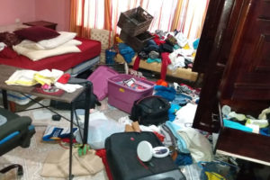 The inside of Canul's home after a break-in on Sunday.