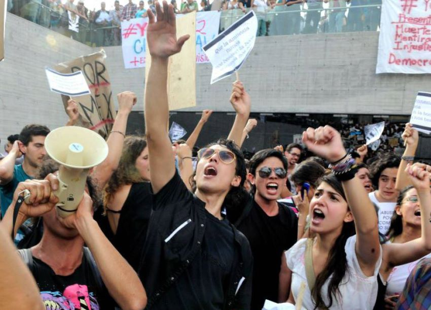 Young people at a demonstration in Mexico City.