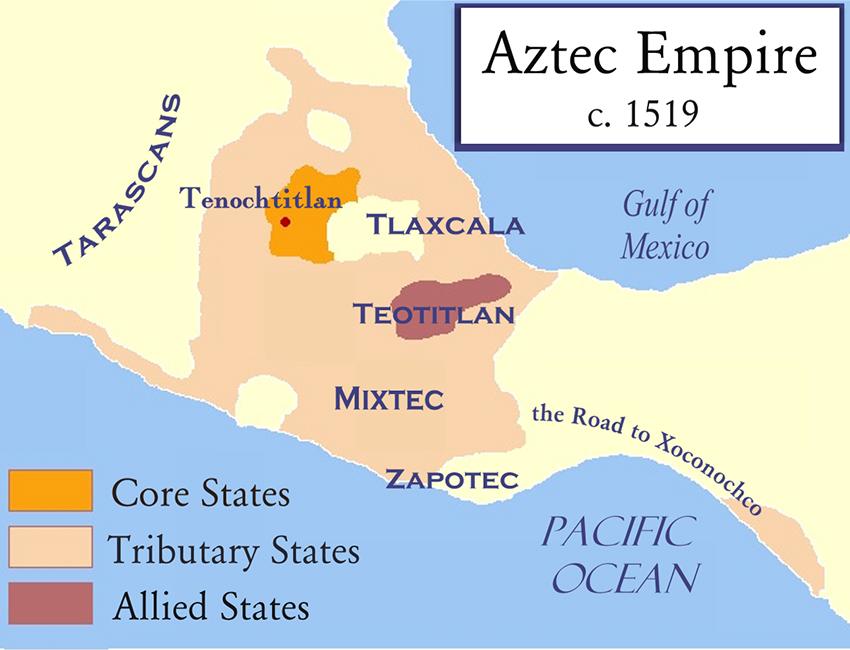 Mapa del Imperio Azteca a partir de 1519, poco antes de la conquista.