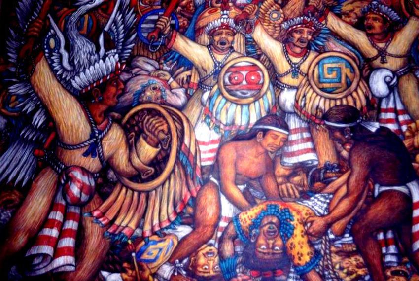 Mural of the Battle of Atlixco by Desiderio H. Xochitziotzin.