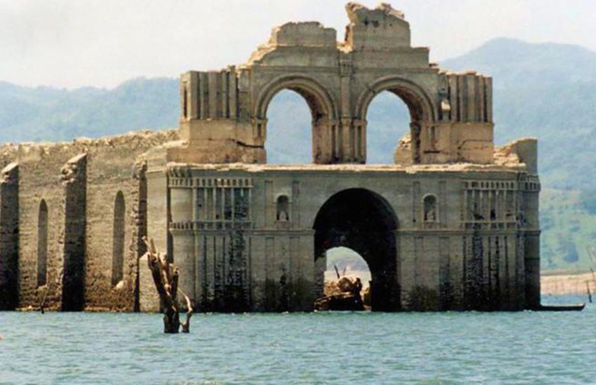 Ruins of Quechula Monastery in Chiapas' Malpaso Dam.