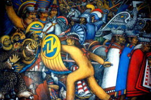 A mural of Tlaxcalans fighting at the battle of Tenochtitlán