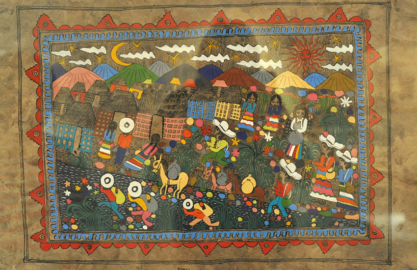 Painting on amate paper by Nahua artist Marsiano Vargas at the Museo de las Culturas Populares in Mexico City.