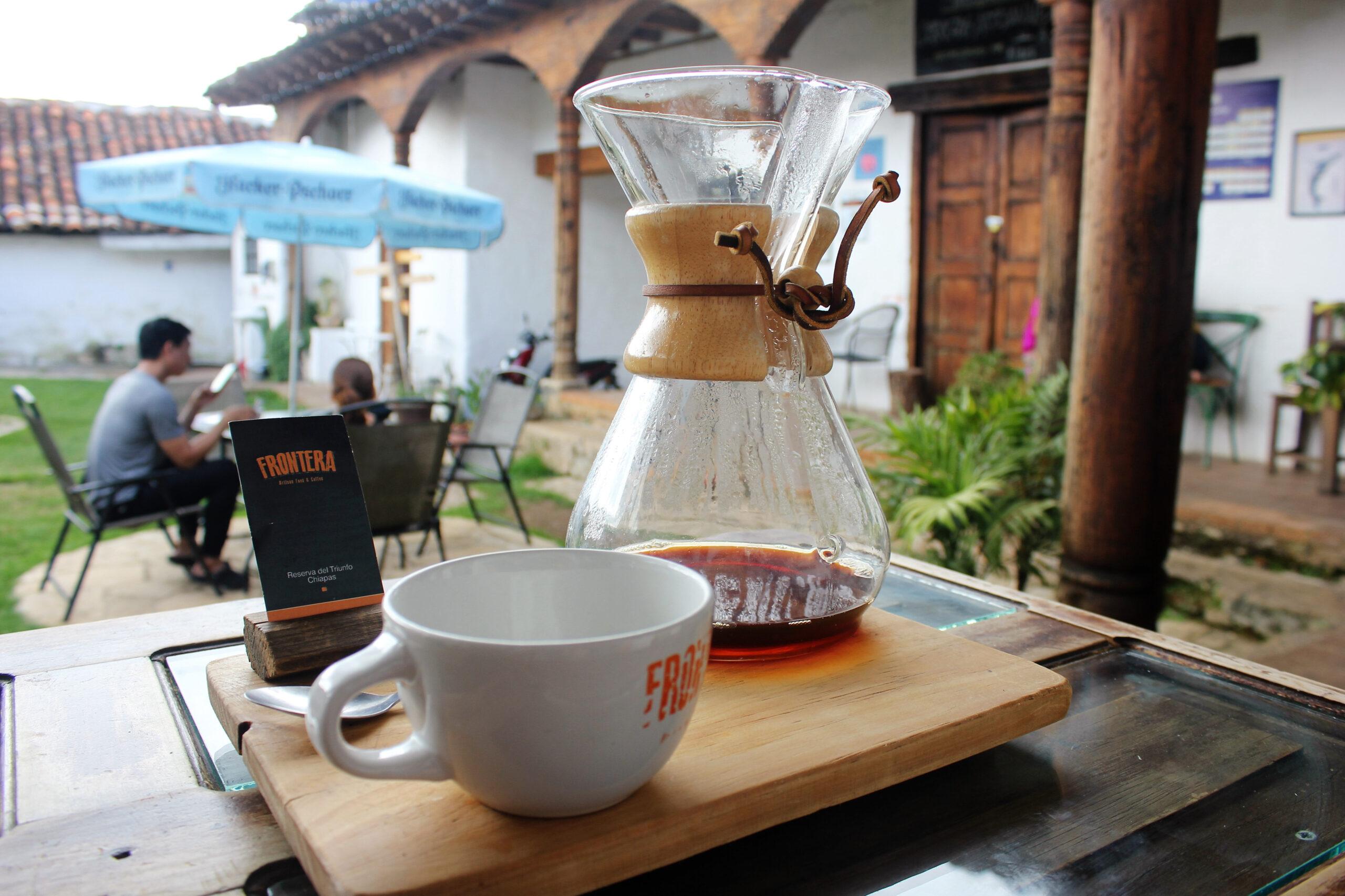 Coffee at La Frontera café in San Cristóbal de las Casas, Chiapas
