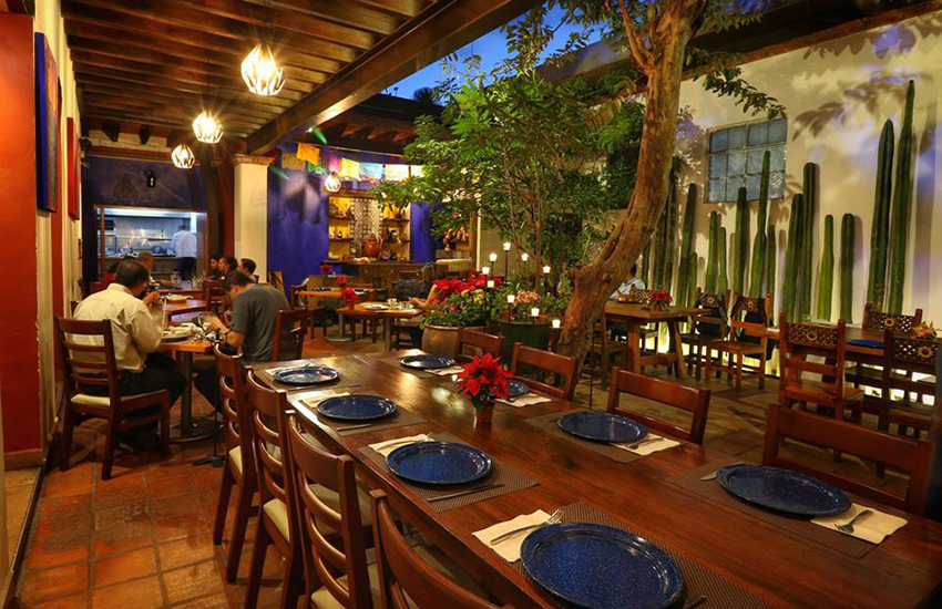 The interior to Las Quince Letras restaurant in Oaxaca city, Oaxaca.