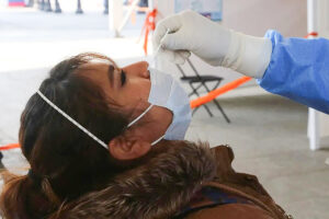 A woman receives a Covid-19 test in Mexico City in January.