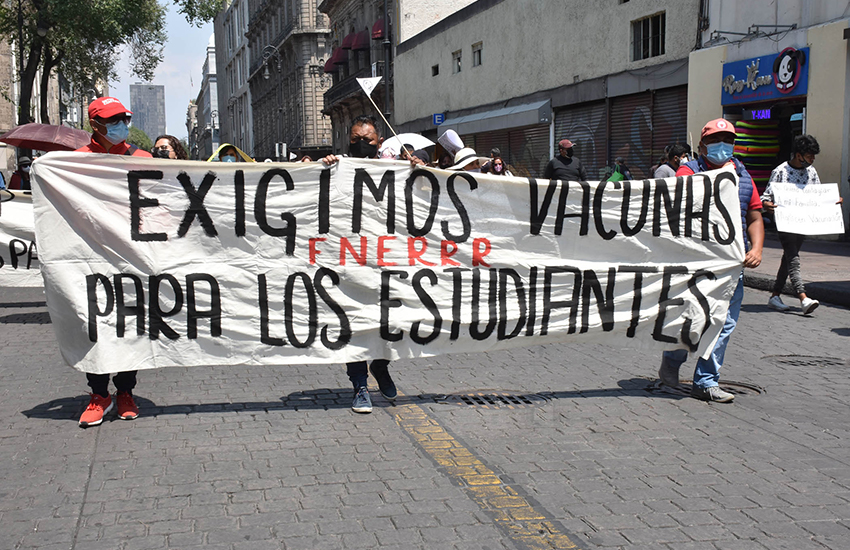 Students marching in Mexico City's streets on Monday to protest a federal government proposal that schools return to in-person classes next month.
