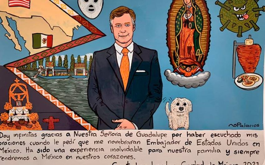 Former US Ambassador to Mexico Christopher Landau thanked the Virgin of Guadalupe in his exvoto, evoking a tradition going back to Renaissance Venice.