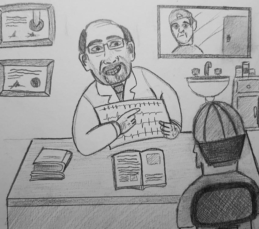Mexican doctor explaining EKG