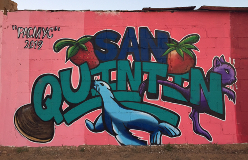 Mural promoting San Quintín by Rogelio Santos