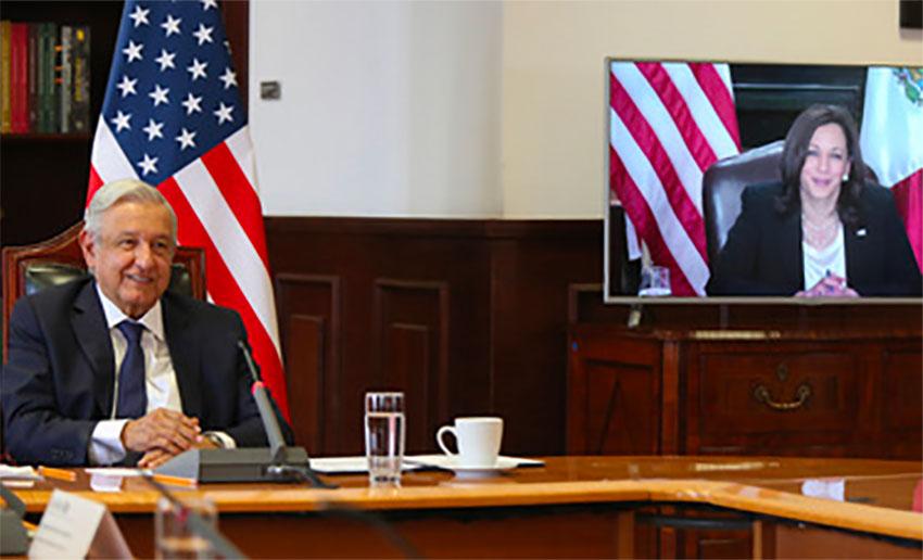 López Obrador and Harris during Friday's meeting.