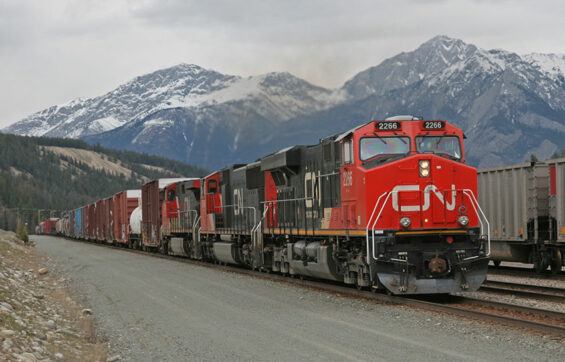 A Canadian National train in Jasper, Alberta
