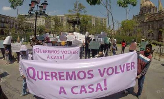 displaced people at a protest in Guadalajara