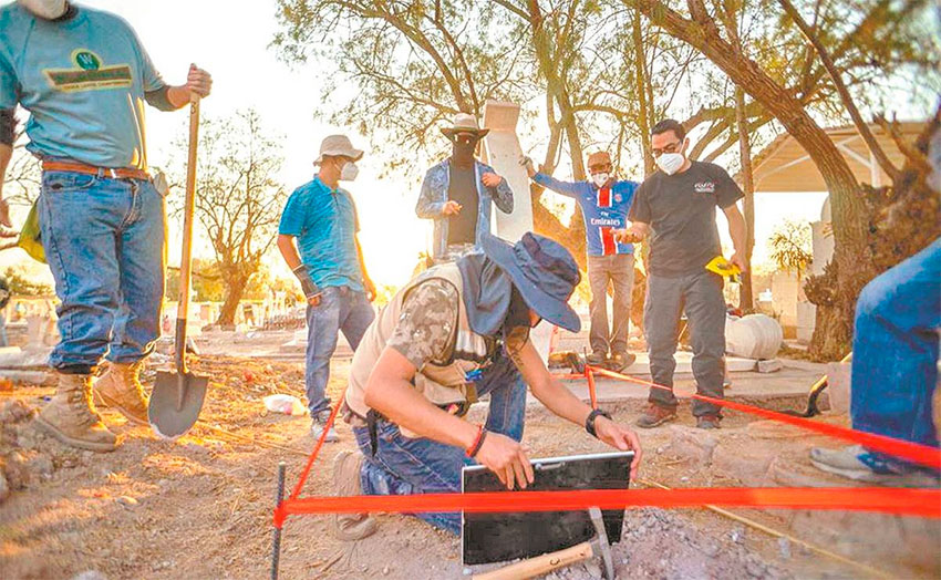 The exhumation process began Monday in Torreón.