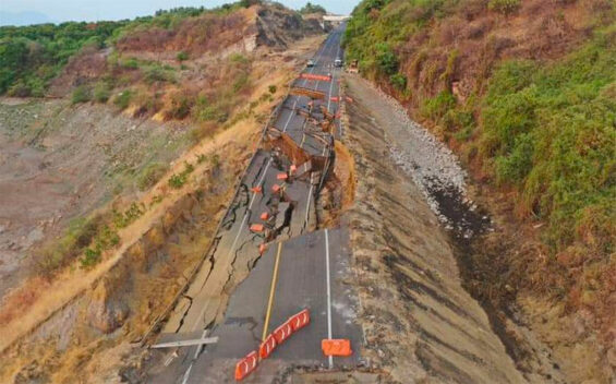 The section of highway that collapsed on Saturday.