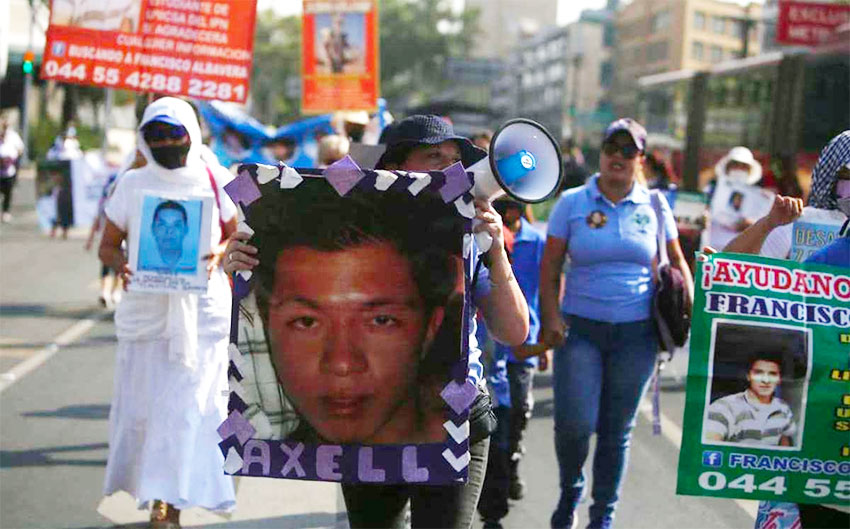 Mothers march in Mexico City Monday.